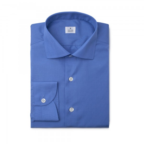 Chemise homme Popeline fil à fil bleue