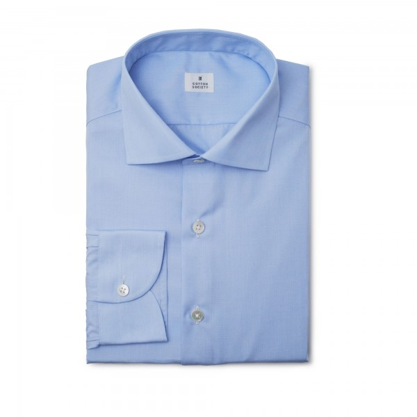 Chemise popeline fil à fil bleue EASY CARE