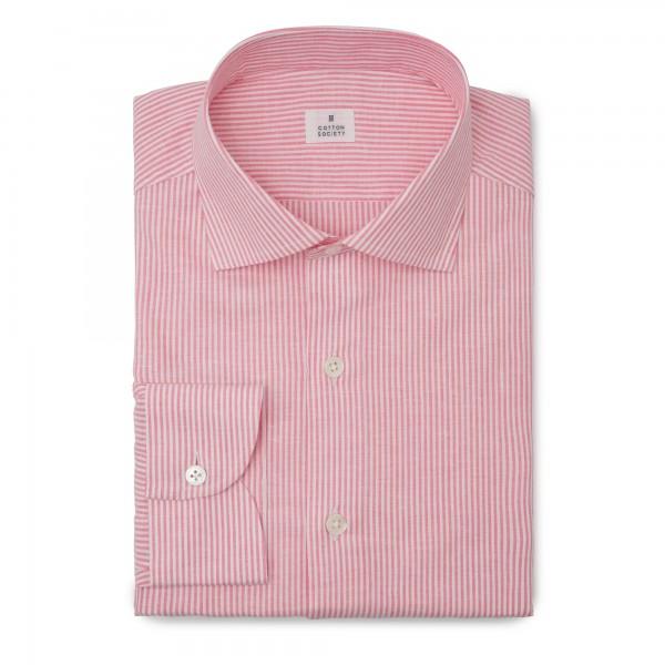 Chemise homme lin coton rayé rose