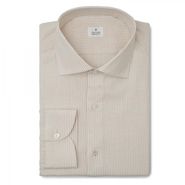 Chemise homme lin coton rayé beige