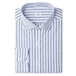 Chemise homme lin coton rayé bleu