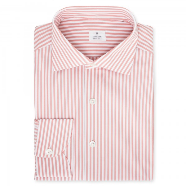 Chemise homme Popeline Rayé Vieux Rose