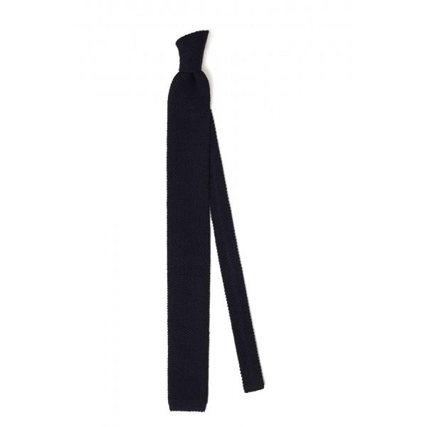 Cravate Tricot 100% laine Marine