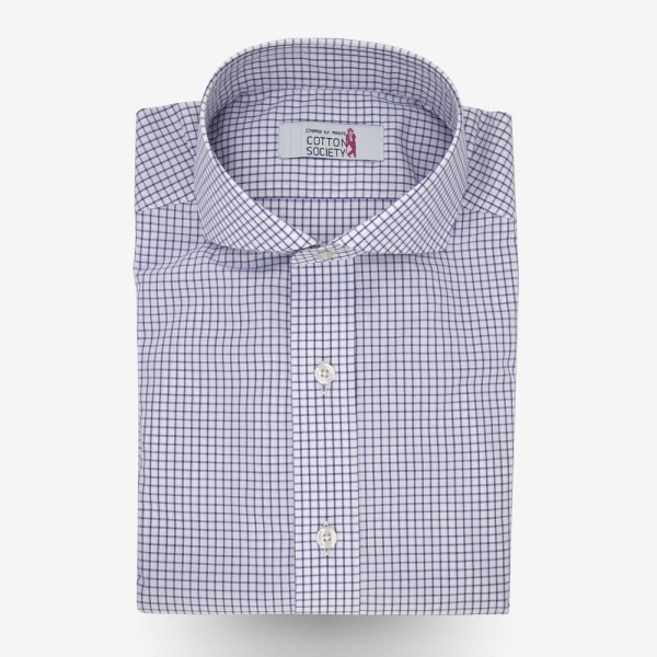 chemise homme popeline carreaux violet cotton society. Black Bedroom Furniture Sets. Home Design Ideas