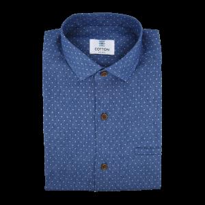 Image chemise denim bleu à pois blancs