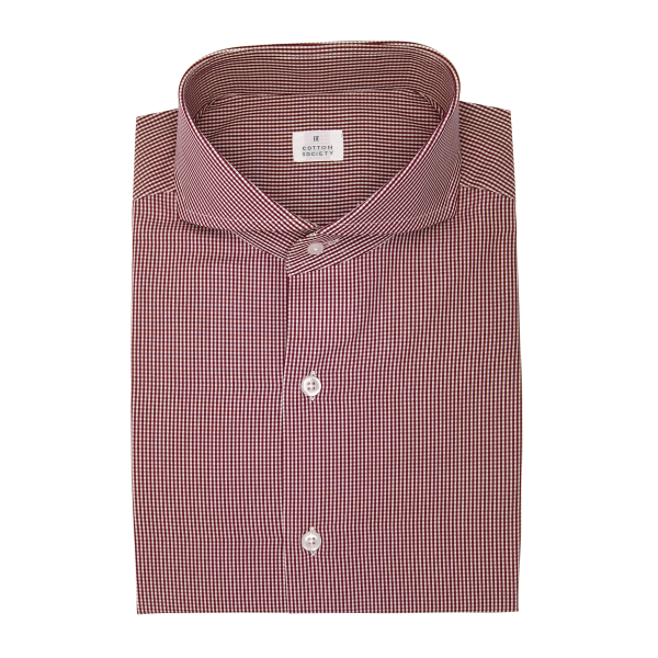Chemise homme Popeline Carreaux Rouge