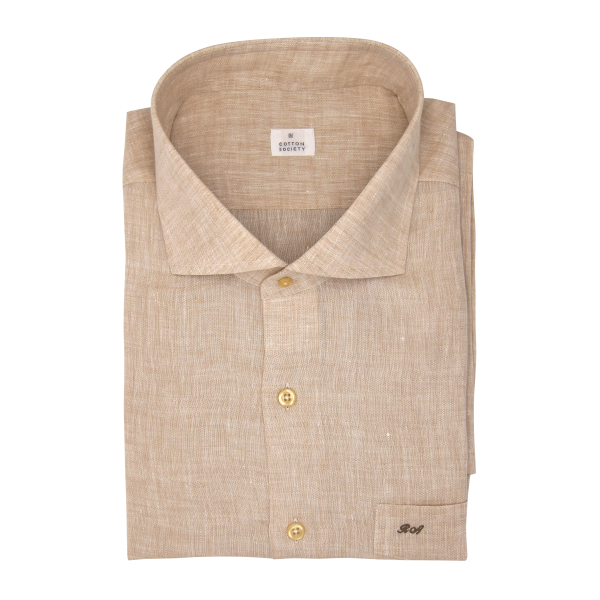 Chemise homme Lin Uni Beige